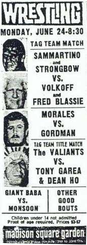 Newspaper Clip ad for Wrestling at Madison Square Garden June 24, 1974