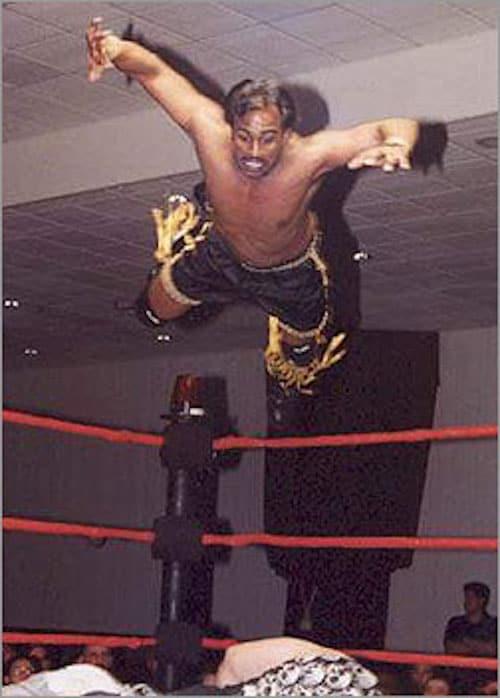 Tiger Khan, flying high.