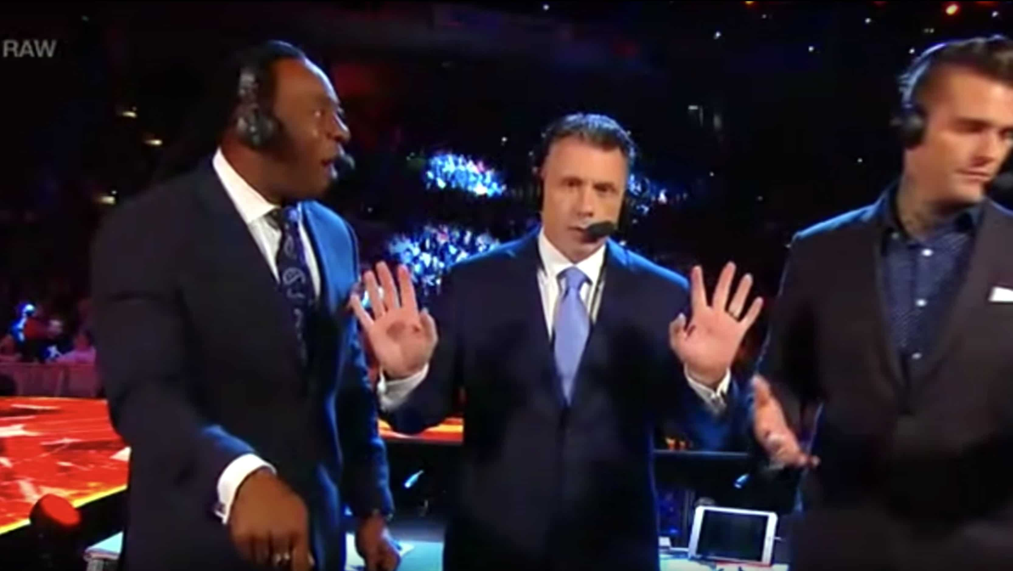 Booker T and Corey Graves working the fans during a commentary session