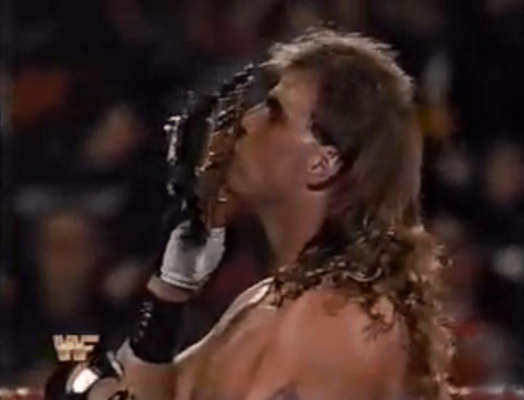 Shawn Michaels kisses his precious Intercontinental Championship belt in 1993