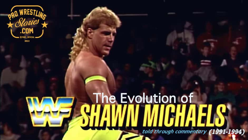 The Evolution of SHAWN MICHAELS Told through Commentary (1991-1994) graphic showing him with a blond mullet wearing bright yellow wrestling pants