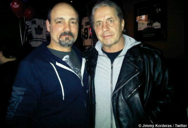 Two Canadian greats, referee Jimmy Korderas and Bret Hart