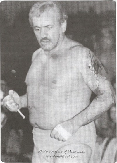 The Original Sheik black and white photo in his wrestling trunks