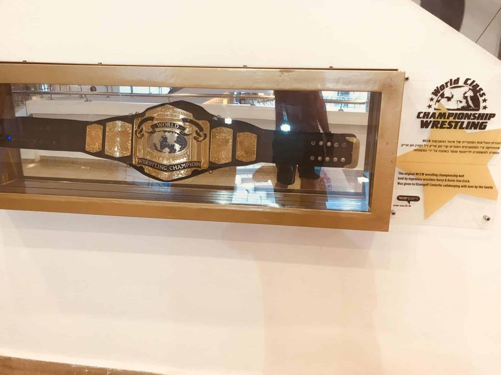 The original Kevin Von Erich WCCW Championship belt, on permanent display at the Dizengoff Center mall, Tel Aviv, Israel. (photo: /u/DieselCorps on Reddit)