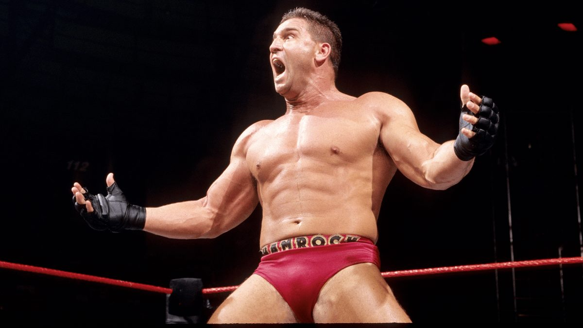 Ken Shamrock in red trucks during his time in WWE