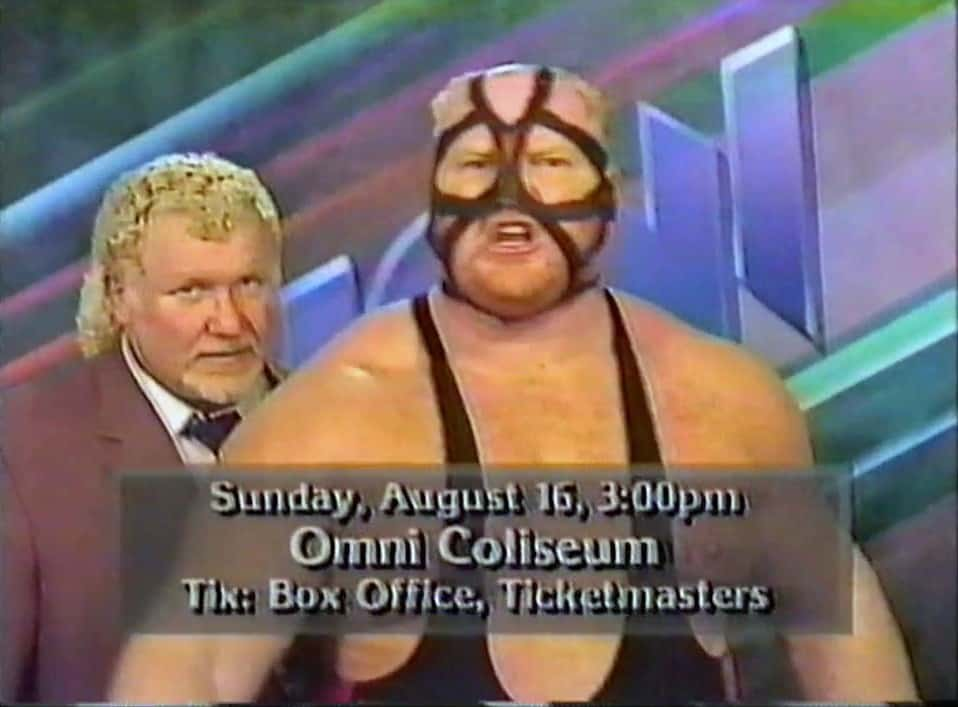 Big Van Vader, alongside Harley Race shooting a promo for an upcoming appearance at the Omni Coliseum in 1992