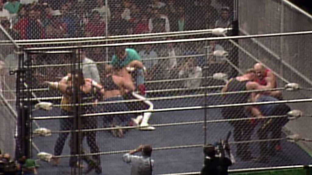 The Omni Coliseum - Competitors battle it out at in a gage at the inaugural and only NWA Bunkhouse Stampede, 1988 [photo courtesy of thechairshot.com/]