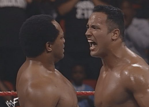 Gang Wars - The Rock yells at Farooq after a loss at the 1998 In Your House: No Way Out of Texas pay-per-view
