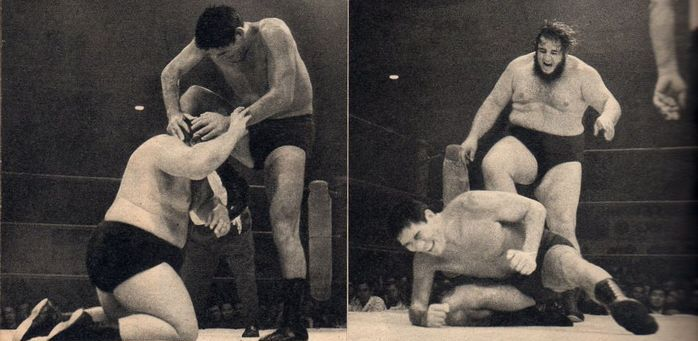 Giant Baba faces off against Gorilla Monsoon in October 1972.
