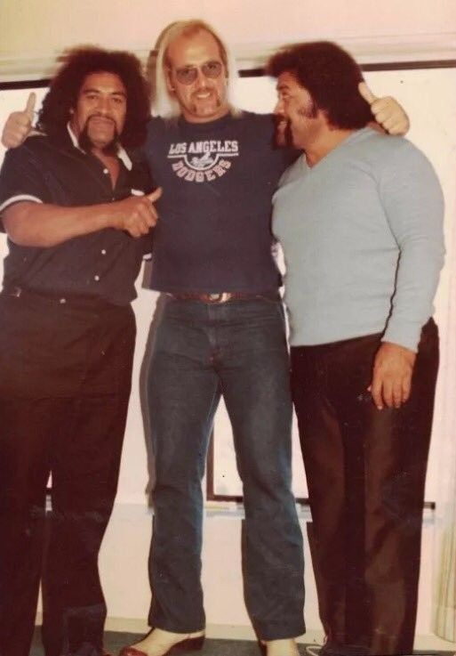 Hulk Hogan with his friends, Afa and Sika. When they were getting a start in the business, they would travel the road by van together.
