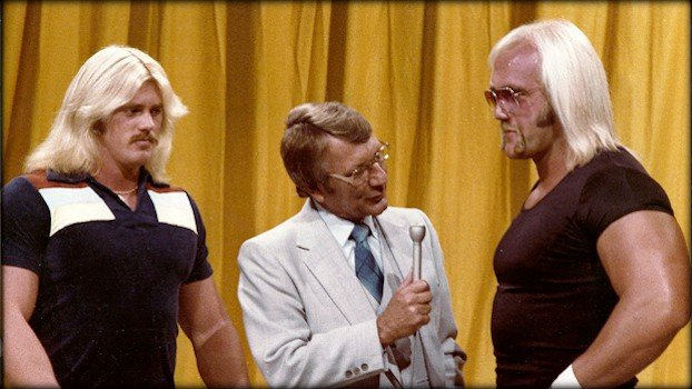 Hulk Hogan and Brutus Beefcake go back to the 1970s. Here they are pictured together on Classic Memphis Wrestling television on July 21, 1979. The then-Terry Boulder was cutting a promo on Ron Bass alongside his on-screen brother, Eddie Boulder (Ed Leslie), and legendary wrestling announcer Lance Russell.