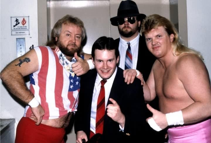 """Jim Cornette and The Midnight Express (""""Loverboy"""" Dennis Condrey and """"Beautiful"""" Bobby Eaton) and Big Bubba Rogers (who later became The Big Bossman), 1986."""