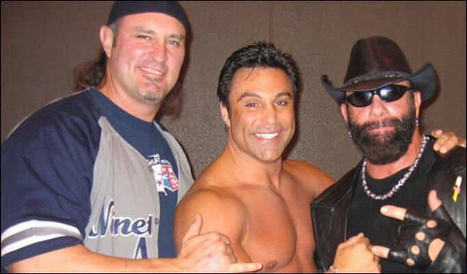 Wrestler Brian Adams alongside Marc Mero and Macho Man Randy Savage, who Adams went on to do security for during the time Savage was promoting his new rap album