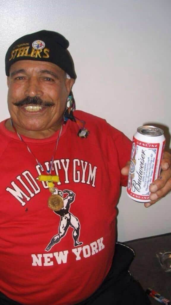 The Iron Sheik raising his ice cold Budweiser. Cheers!