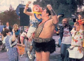 "A fury skirt-wearing Andre The Giant appears in a puff of pink smoke and proceeds to punch everyone in the face in Cyndi Lauper's ""Goonies R Good Enough"" music video."
