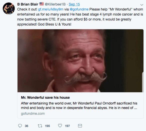 Brian Blair's tweet regarding Paul Orndorff's Go Fund Me campaign