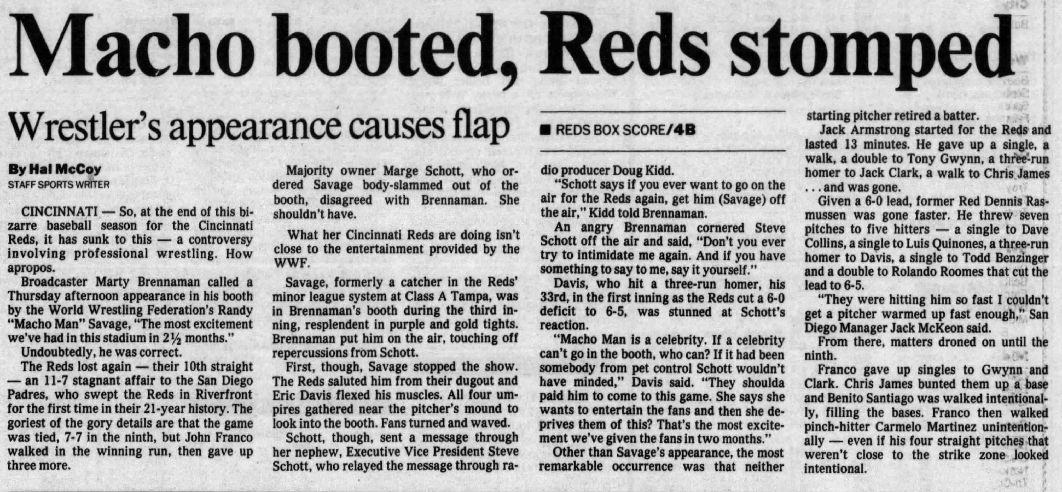 A Dayton Daily News (Friday, September 22, 1989 edition) article on how Randy Poffo caused a bit too much excitement and got kicked out while making an appearance in the booth at a Cincinnati Reds game.