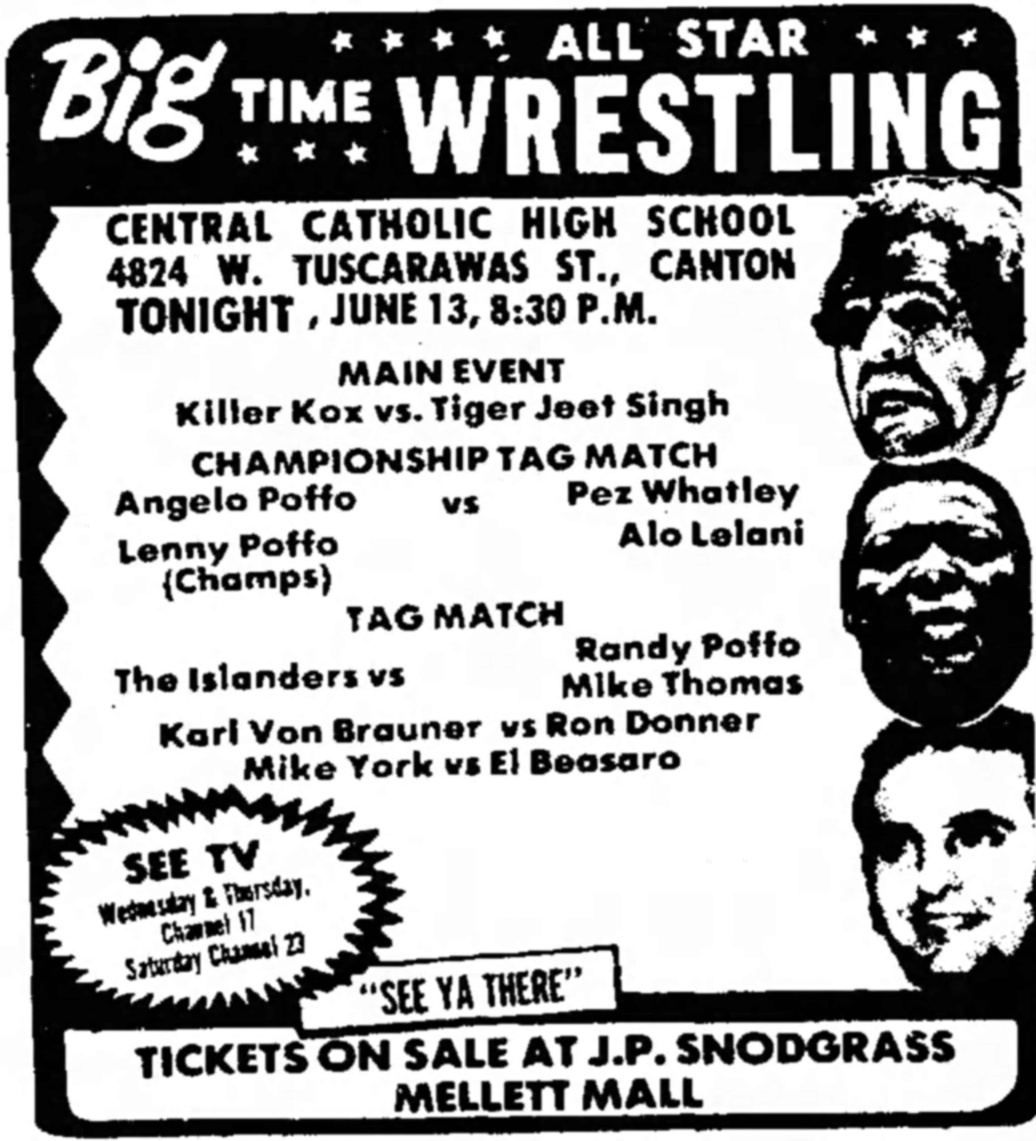 Wrestling advert featuring the Poffo family from the Friday, June 13, 1975 edition of The Evening Independent.