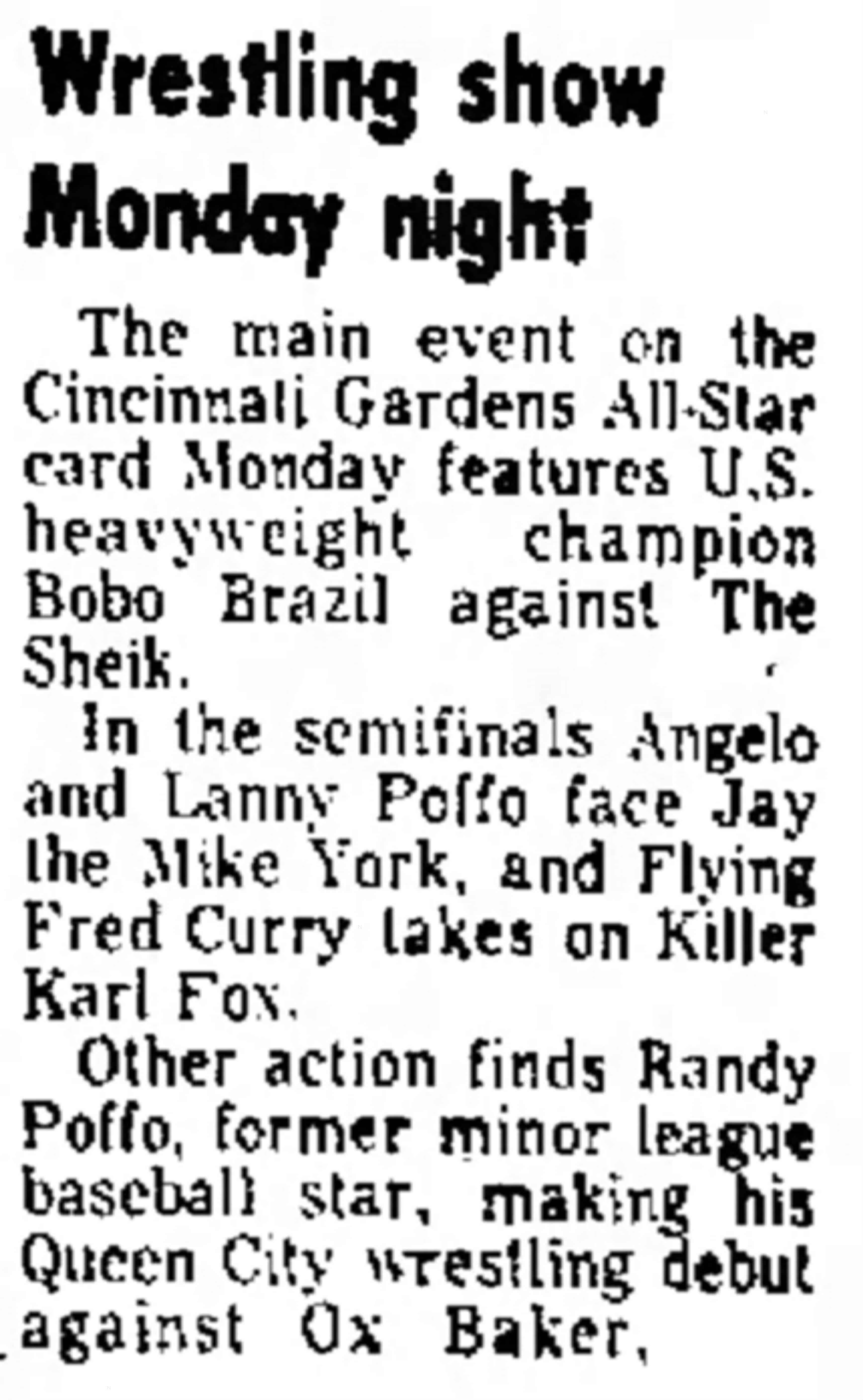A May 11, 1975 news article from The Journal News promoting the arrival of 'former minor league baseball star,' Randy Poffo