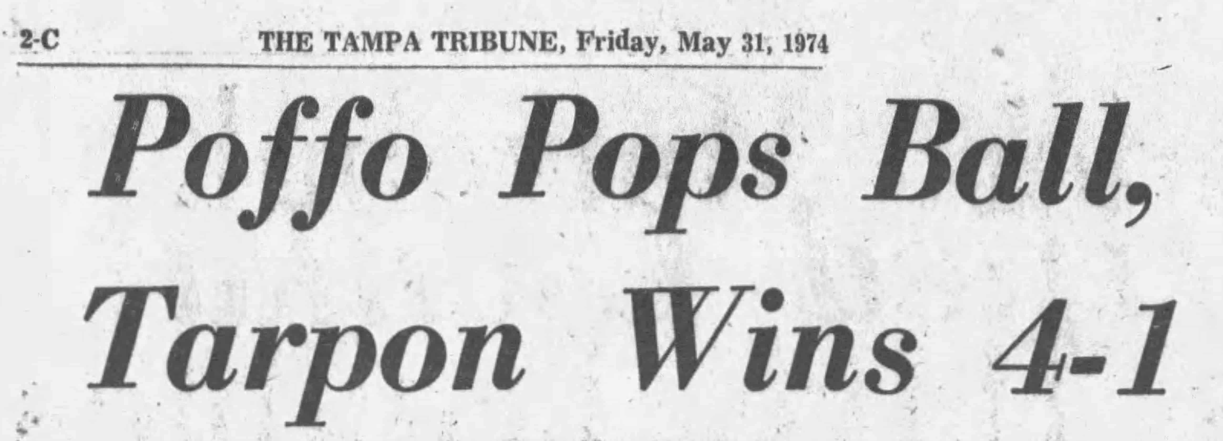 Randy Poffo baseball headline in The Tampa Tribune, Friday, May 31, 1974