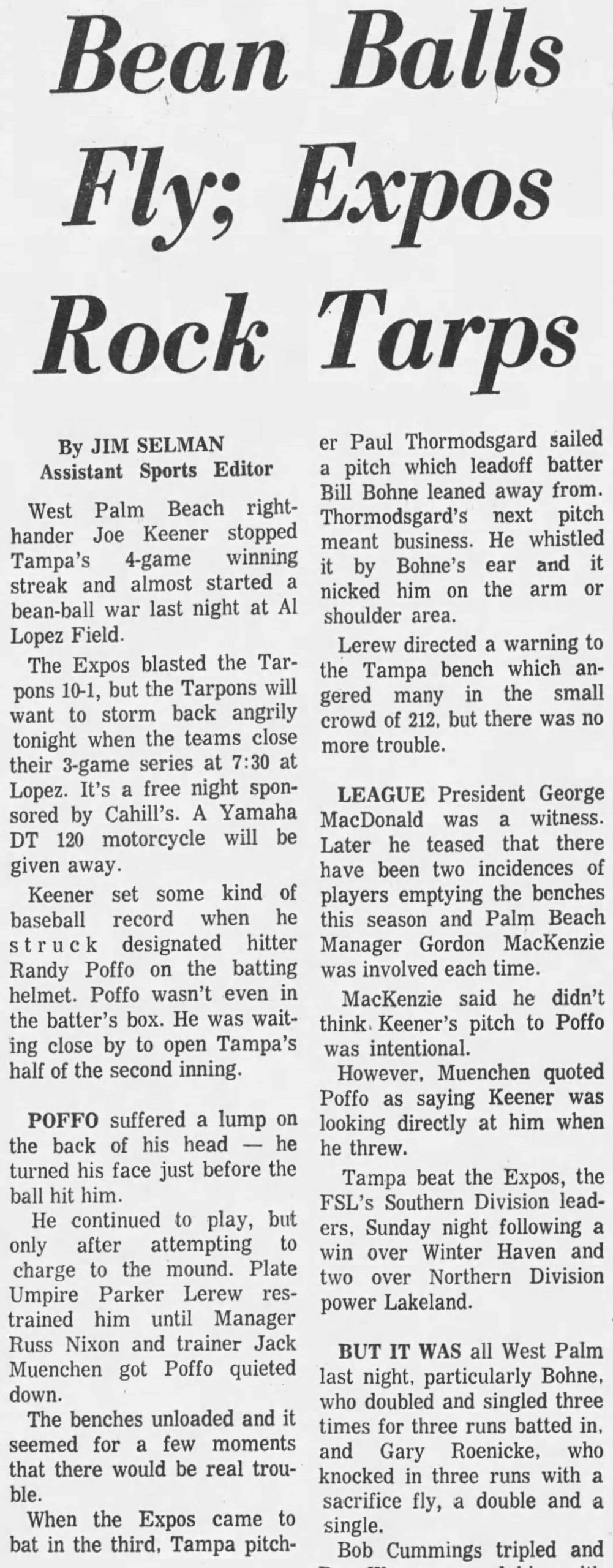 News article from the Tuesday, April 30, 1974 edition of The Tampa Tribune sharing the story of the time Randy Poffo charged the mound after getting hit in the helmet by a ball.