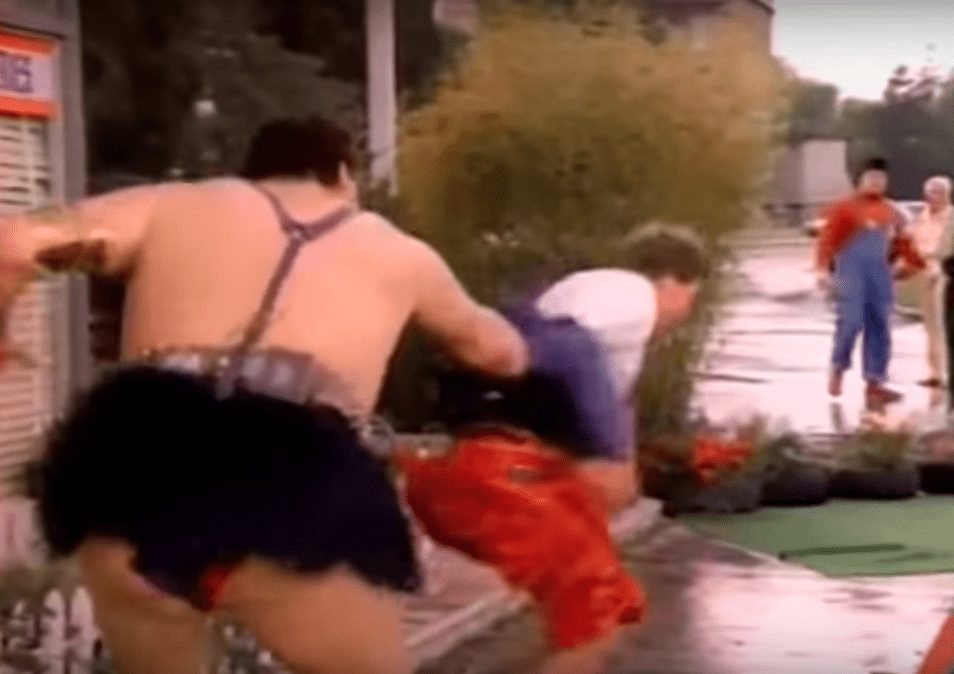 Wrestler cameos in music videos - a furious, fury skirt wearing Andre The Giant appears in a puff of pink smoke and proceeds to punch everyone in the face (apart from Piper, who just gets his jacket pulled off and is chased across the street) in Cyndi Lauper's 'Goonies R Good Enough' music video