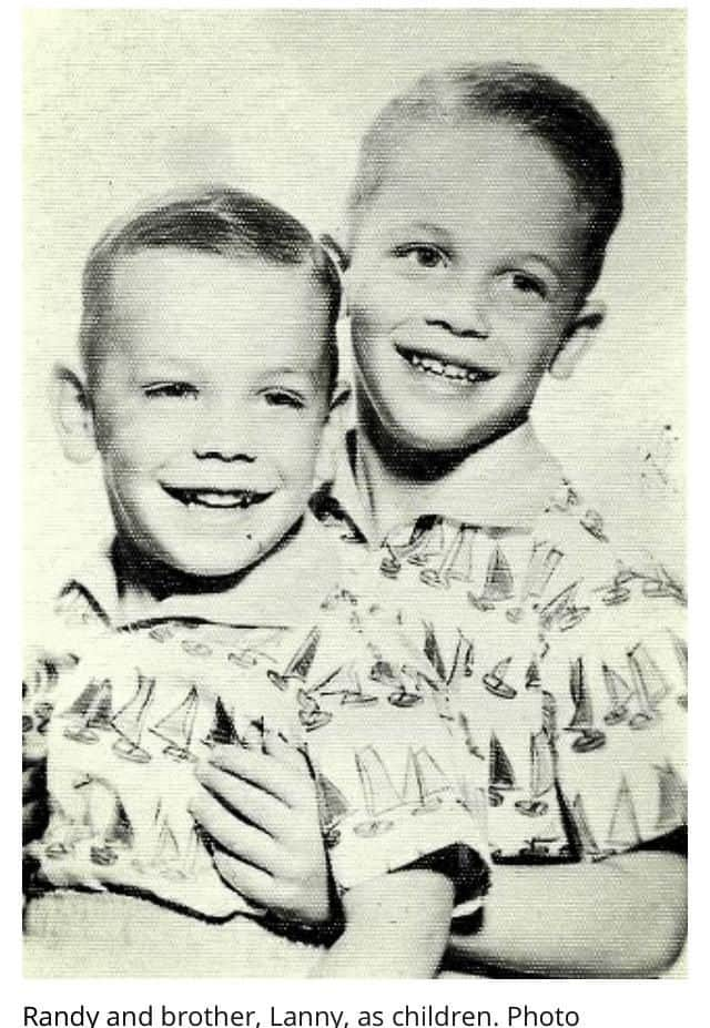 A family portrait of Lanny and Randy Poffo as children, two years apart