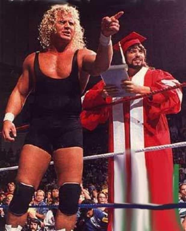Curt Hennig Mr. Perfect and 'The Genius' Lanny Poffo in a 1989 publicity photo for Saturday Night's Main Event