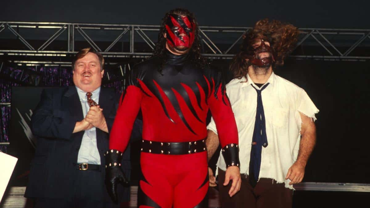 Paul Bearer, Kane, and Mankind Mick Foley at WWE Hell in a Cell pay-per-view in 1998