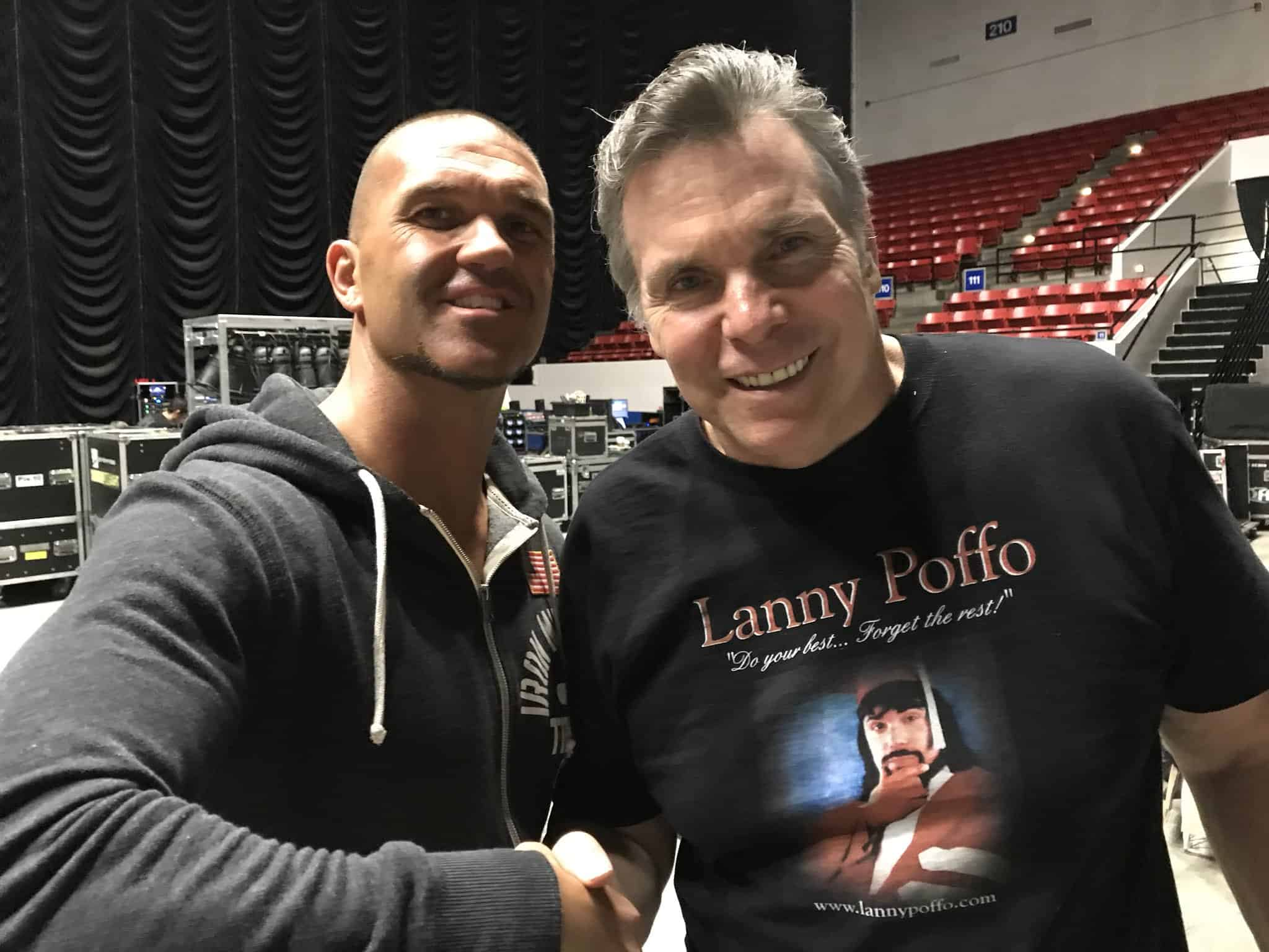Frankie Kazarian and Lanny Poffo shake hands when meeting for the first time back in April, 2018