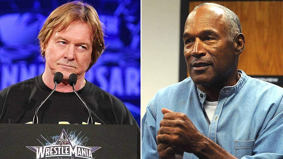 Roddy Piper and OJ Simpson, rumored to have had a feud planned for WWE WrestleMania 12