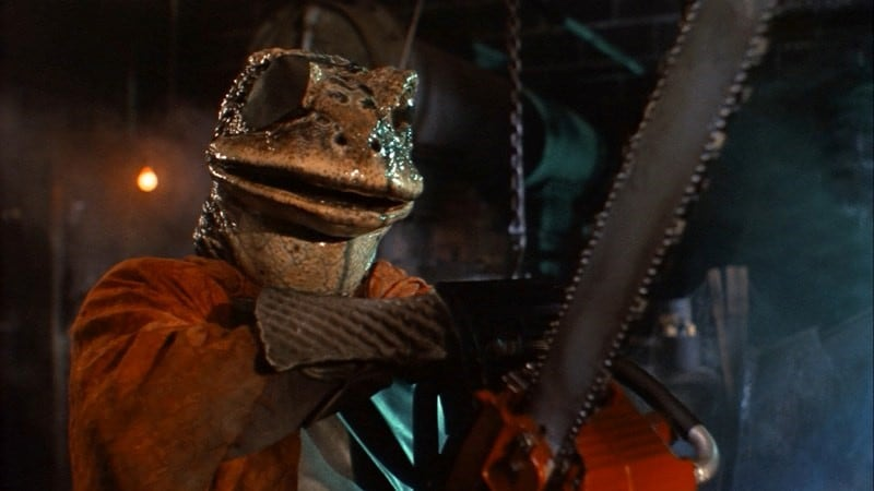 A still of a humanoid frog from the Roddy Piper film Hell Comes to Frogtown