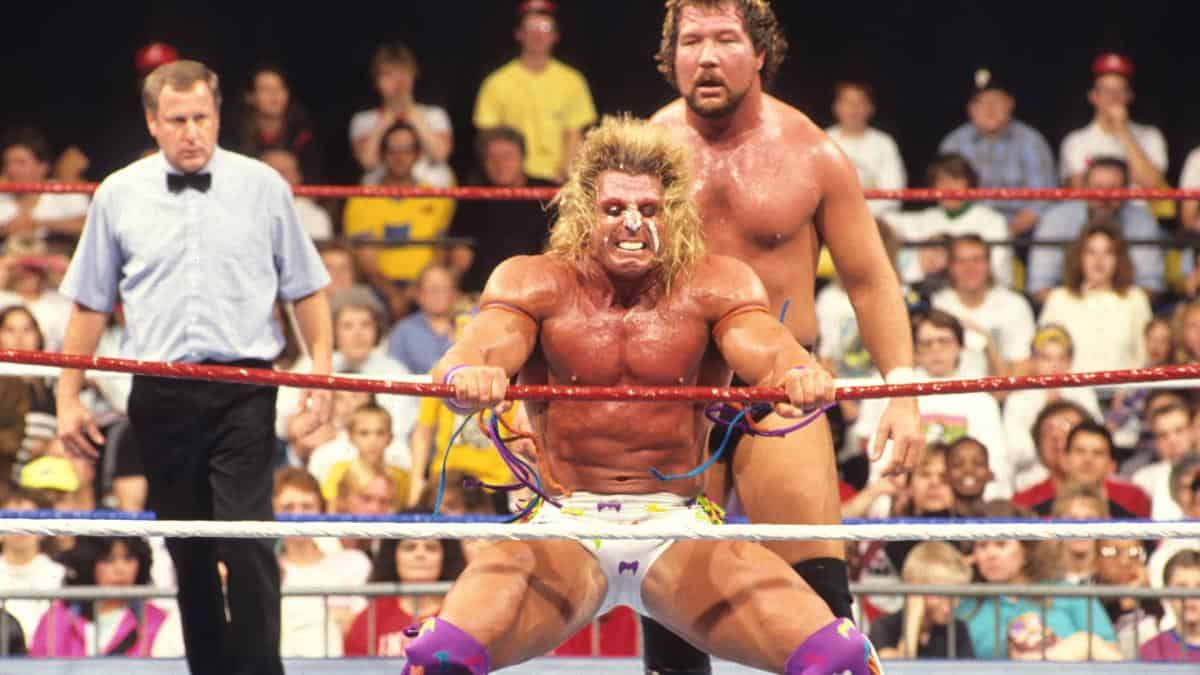 Ultimate Warrior and 'The Million Dollar Man' Ted DiBiase seen here on Saturday Night's Main Event. October 30, 1990.