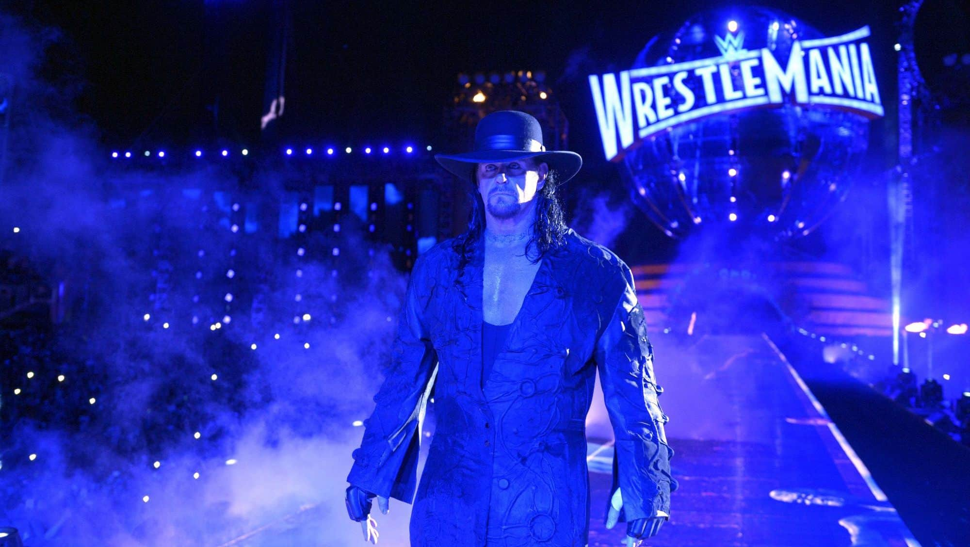 Undertaker makes his entrance at WrestleMania 33. Three years before this, his WrestleMania streak came to an end.
