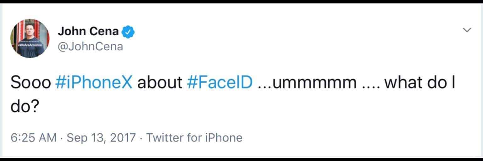 John Cena plays into the you can't see me meme with this tweet about being unable to use the Face ID feature for iPhone X