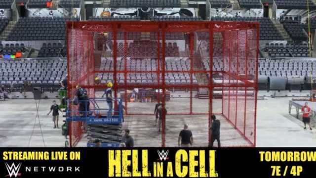 The red-painted Hell in a Cell steel cage structure was introduced to WWE audiences in 2018