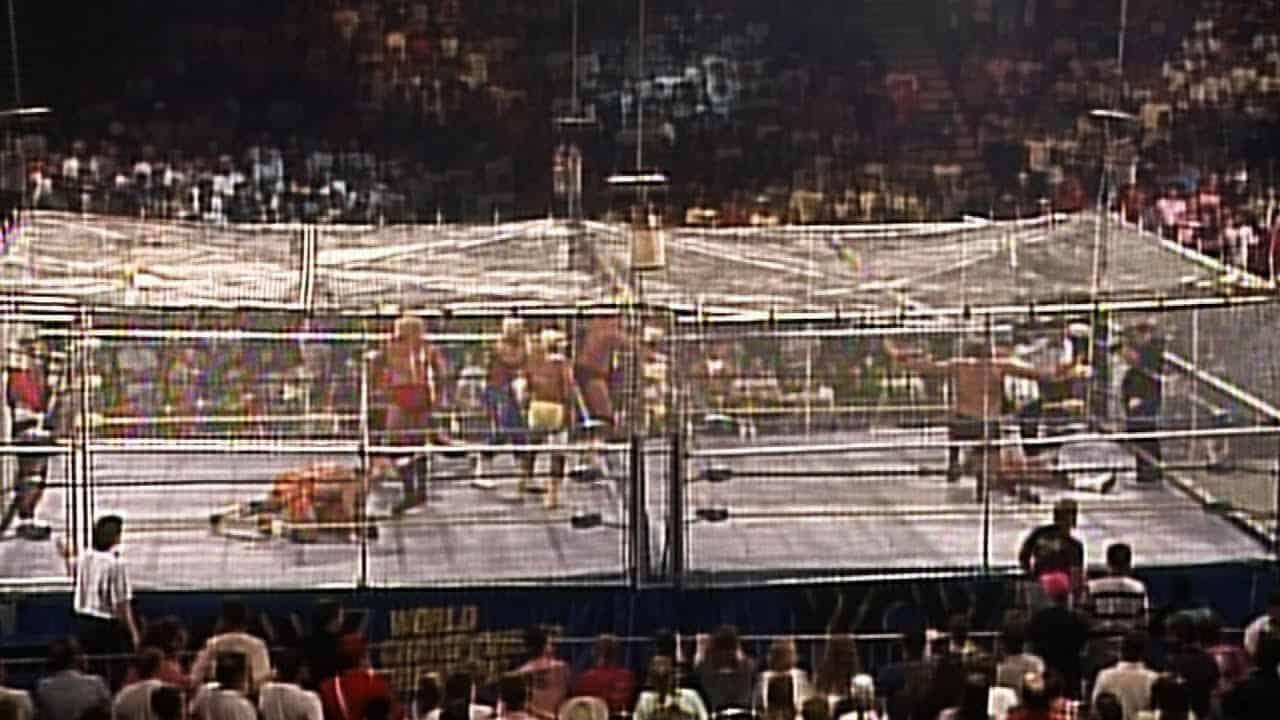 The first WarGames saw The Road Warriors, Paul Ellering and Dusty himself take on the Four Horsemen, and it was a huge success. It became a staple of NWA/WCW, Usually taking place at the Fall Brawl PPV.