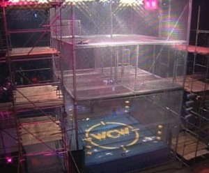 The 1996 WCW Uncensored steel cage saw three cages of equal size stacked on top of one another.