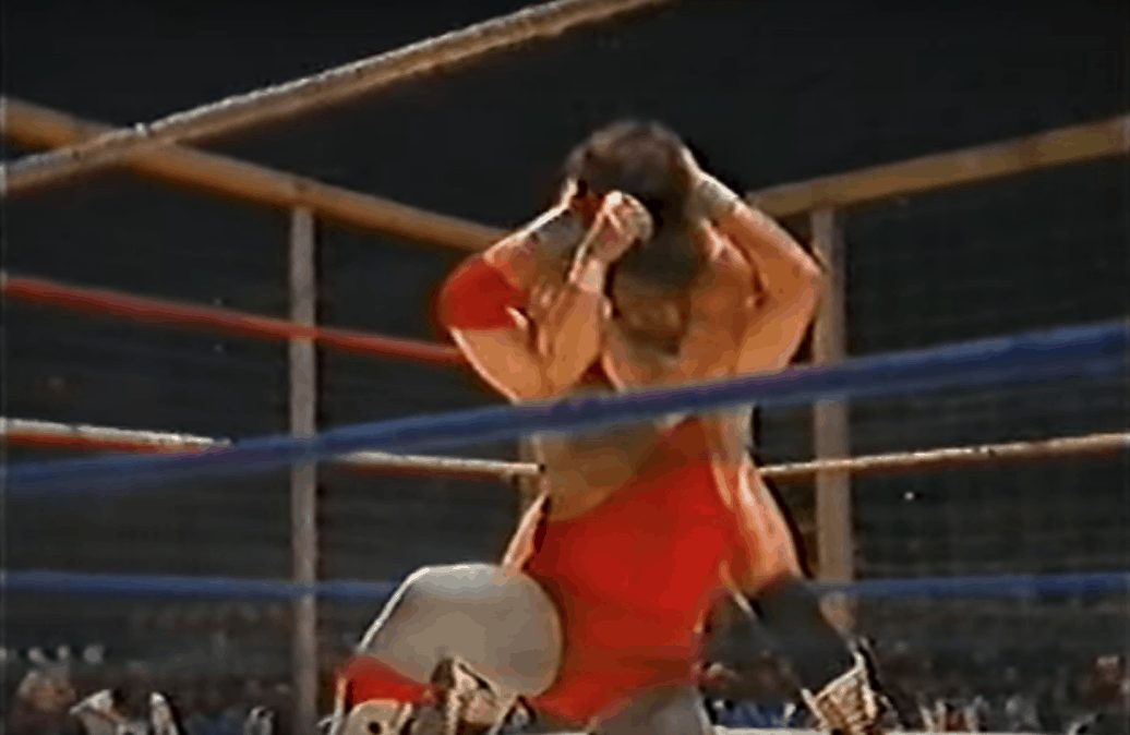 The King of Memphis Wrestling, Jerry Lawler in a steel cage classic against Randy Savage in December of 1983 for the Southern Heavyweight Championship