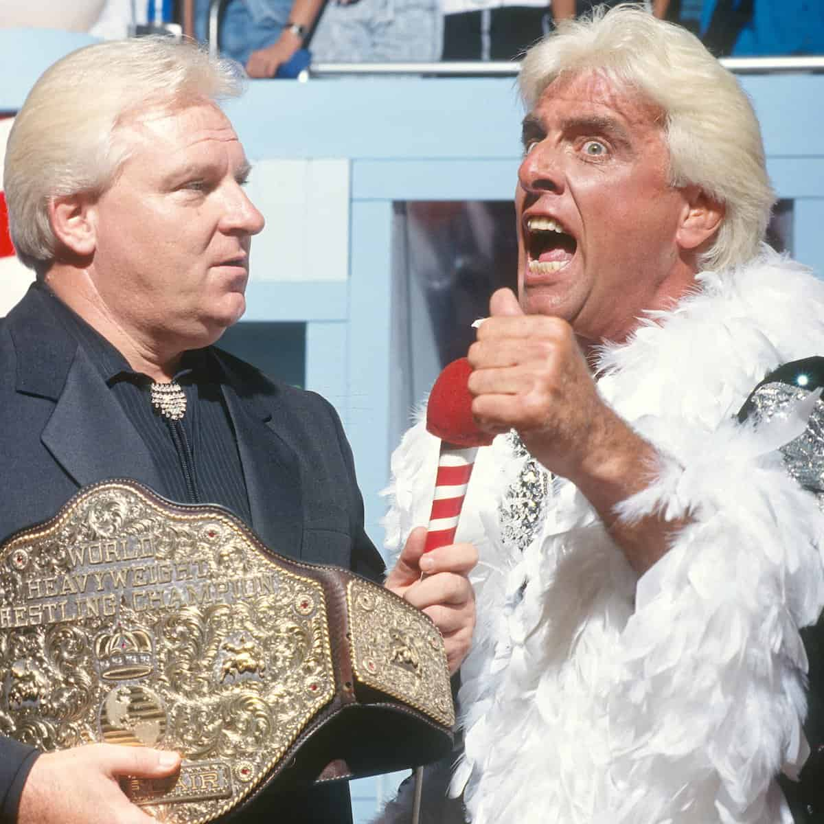 In one of the most shocking moments in wrestling history, Ric Flair debuts on WWF television for the very first time with Bobby Heenan alongside his NWA Championship Belt, WWF Prime Time Wrestling, September 9, 1991.