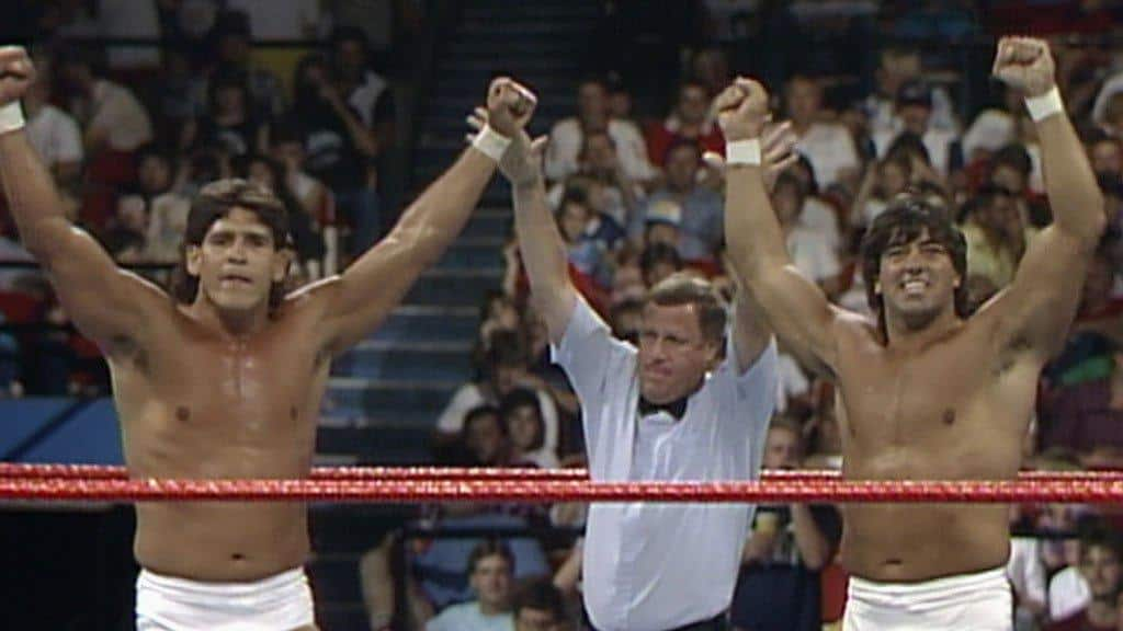 The newly formed team of Tito Santana and Rick Martel, Strike Force