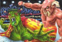The two Hulk's do battle. Fantasy art on Deviantart by MrJimiMadcap.