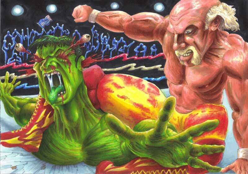 The two Hulks, The Incredible Hulk and Hulk Hogan, do battle. [Photo: MrJimiMadcap on Deviantart]