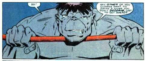 The Incredible Hulk goes over Hulk Hogan in March 10, 1990's Marvel Comics Presents #45 - Hulk Hogan versus The Incredible Hulk