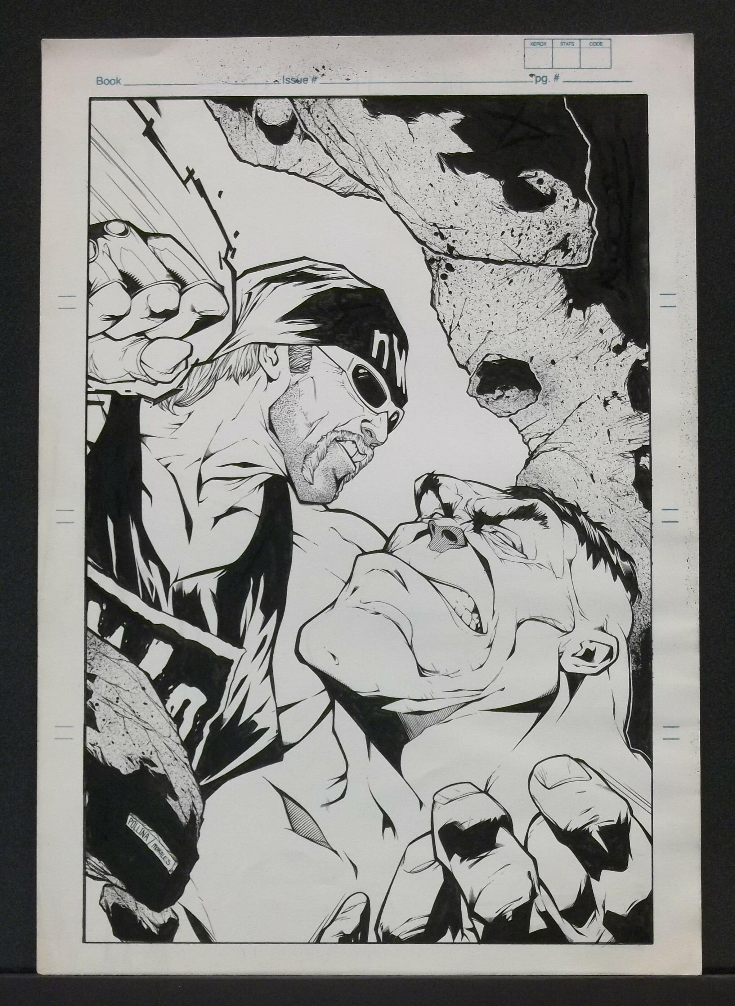 Comic book artist Adam Pollina's concept art of The Incredible Hulk squaring off against WCW's Hollywood Hulk Hogan.