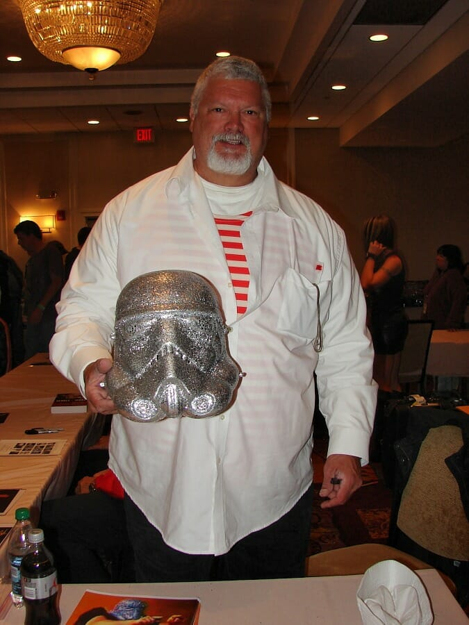 'The Shockmaster has been very good to me.' Fred Ottman at 2016's Kansas City Comic Con with the Shockmaster helmet in tow.