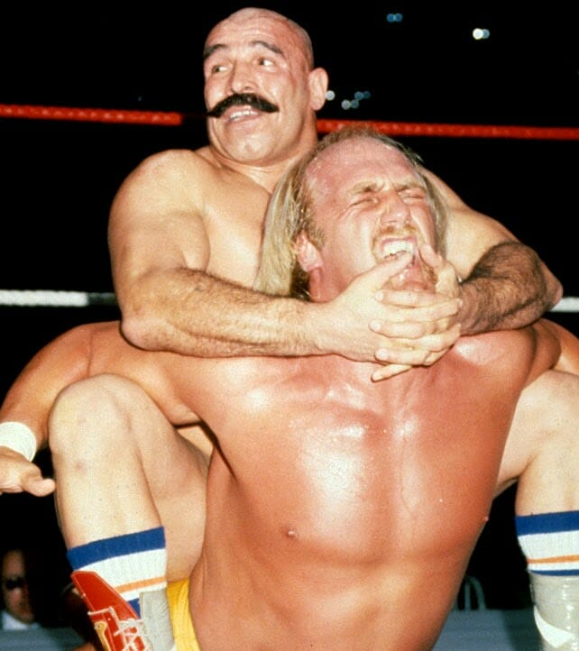 The Iron Sheik has Hulk Hogan locked into his infamous camel clutch. Moments later, Hogan would become the first ever wrestler to break free from this hold. January 23, 1984, Madison Square Garden, New York.