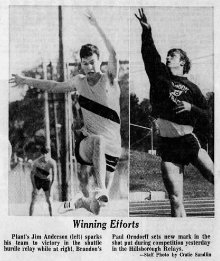 Paul Orndorff set new records in the shot put while competing at Brandon High School