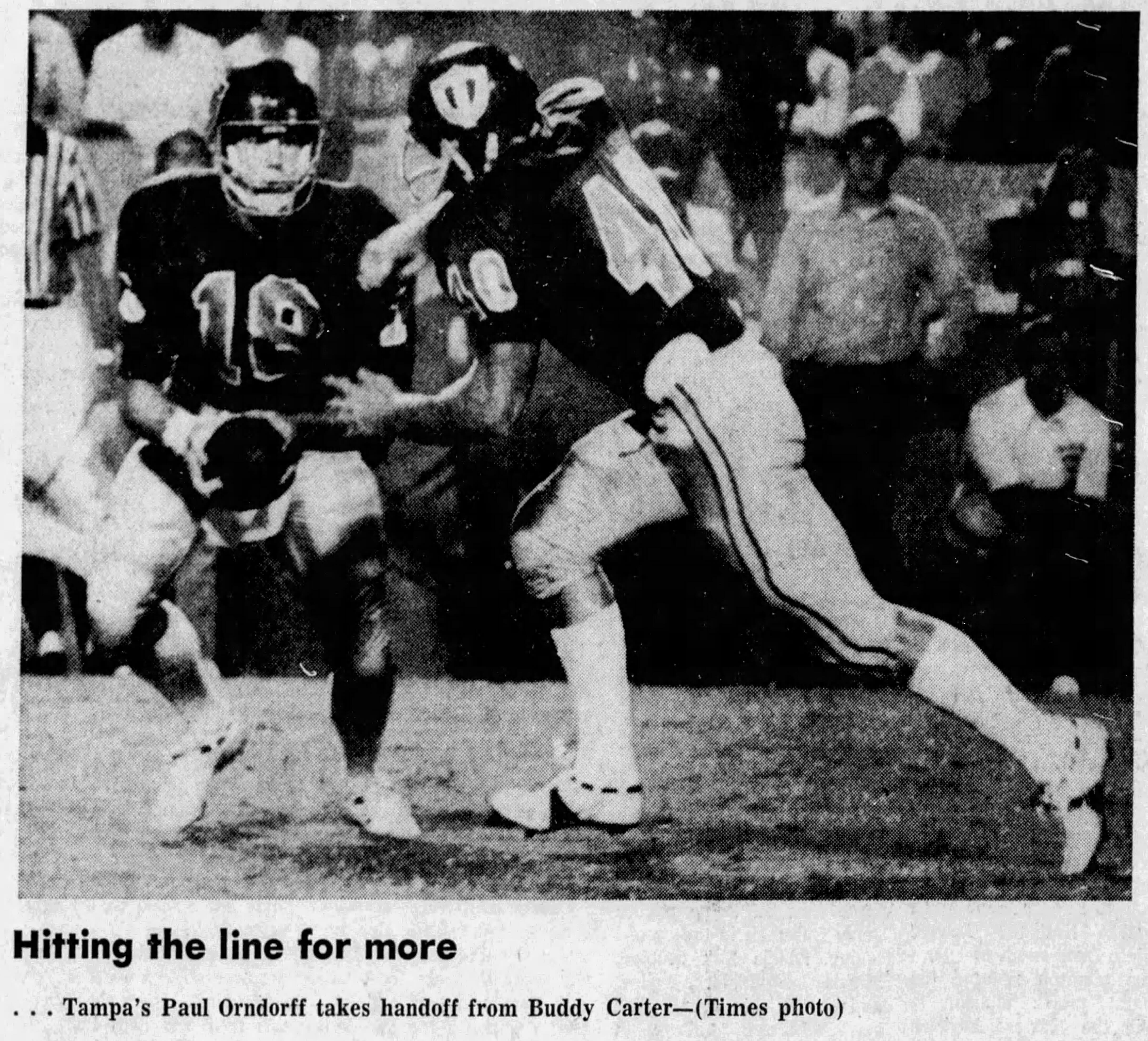Paul Orndorff goes for the handoff while playing football for the University of Tampa