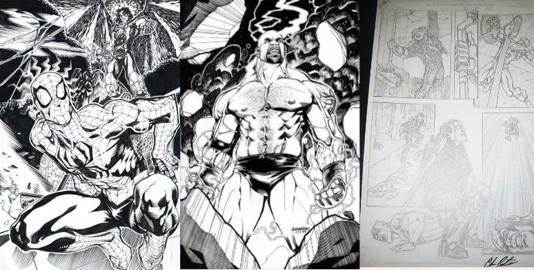 Concept art for Spiderman vs Sting (artist: J.J. Kirby), Bret Hart vs Captain America (artist: Chris Batista), and a Bill Goldberg sketch (artist: J.J. Kirby), looking menacing as ever.